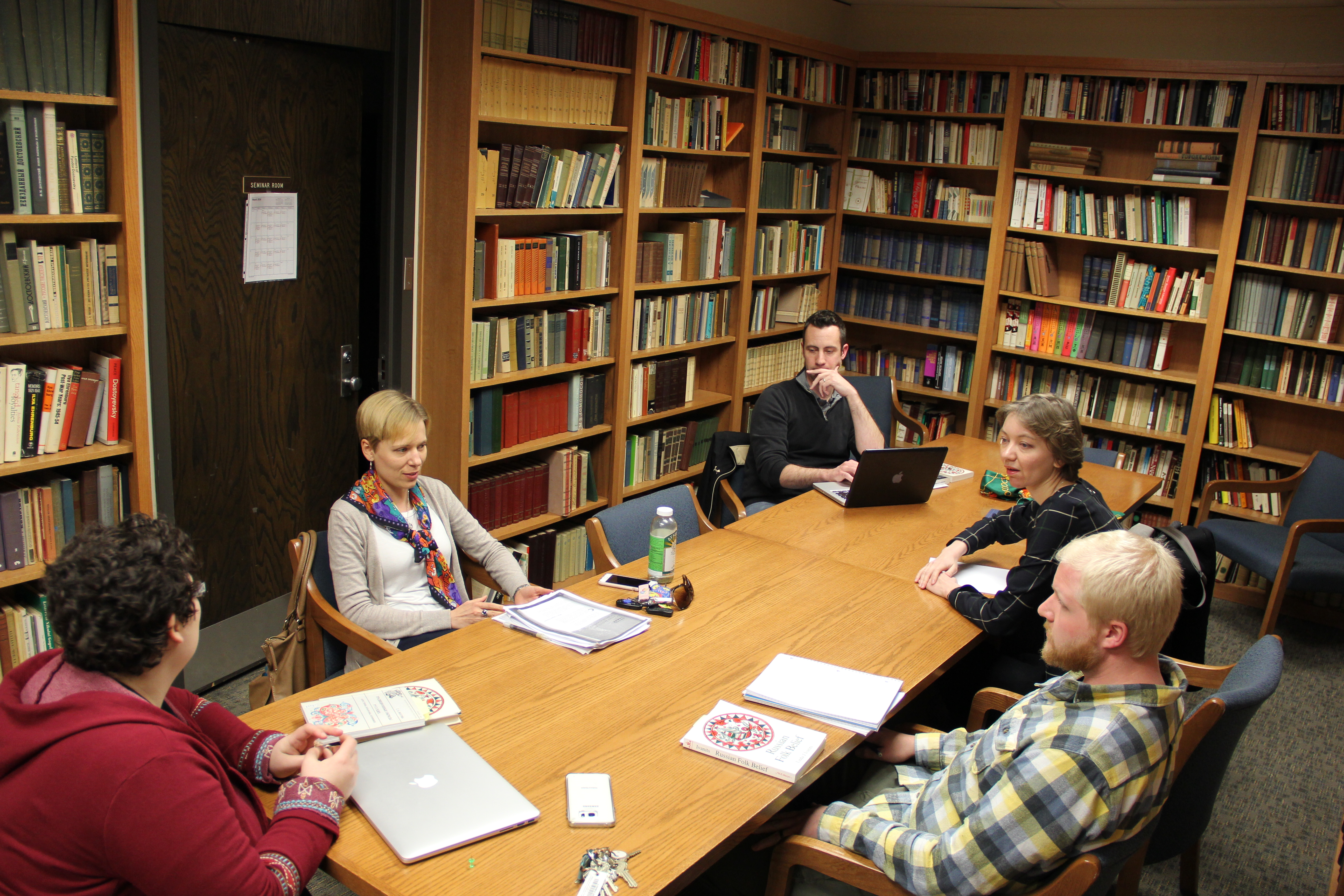 Small class taught in the Parker Slavic Library