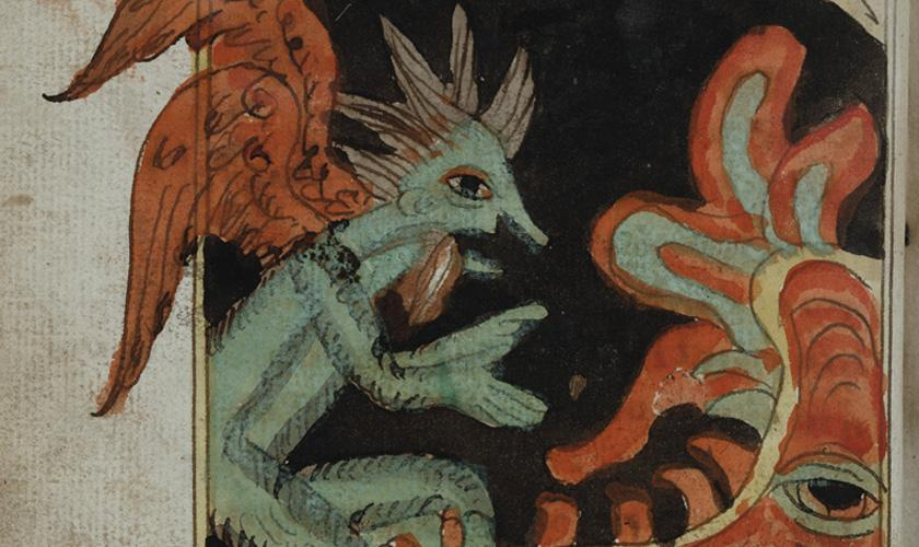A Demon in conversation with a personified Hell. This illustration comes from a Russian 18th century handpainted manuscript housed in KU's Spencer Research Library