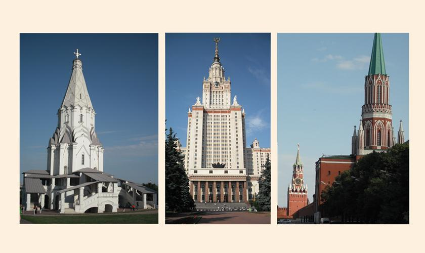 Moscow's spires over the centuries Church of Ascension at Kolomenskoe, main building Moscow State University, two of Kremlin towers